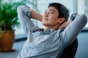 asian man relaxing